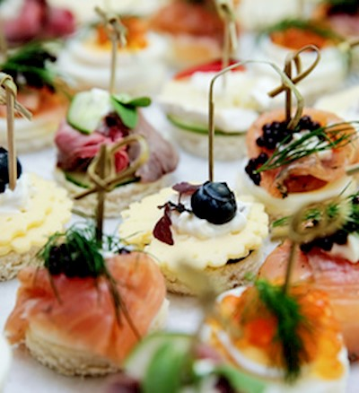 Wedding caterer braveheart weddings wedding catering for Canape menu prices